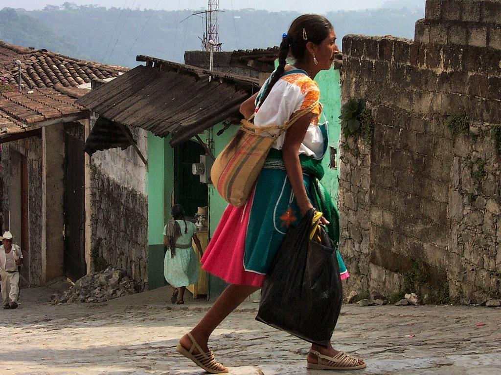 Nahua Indian Woman A Nahua Indian Woman Walking In The