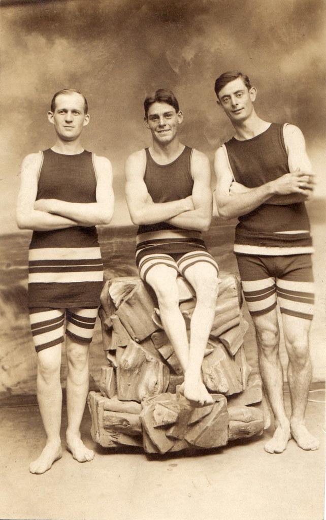 Three Men Vintage Swimwear Circa 1910 Scanned Real Photo Flickr