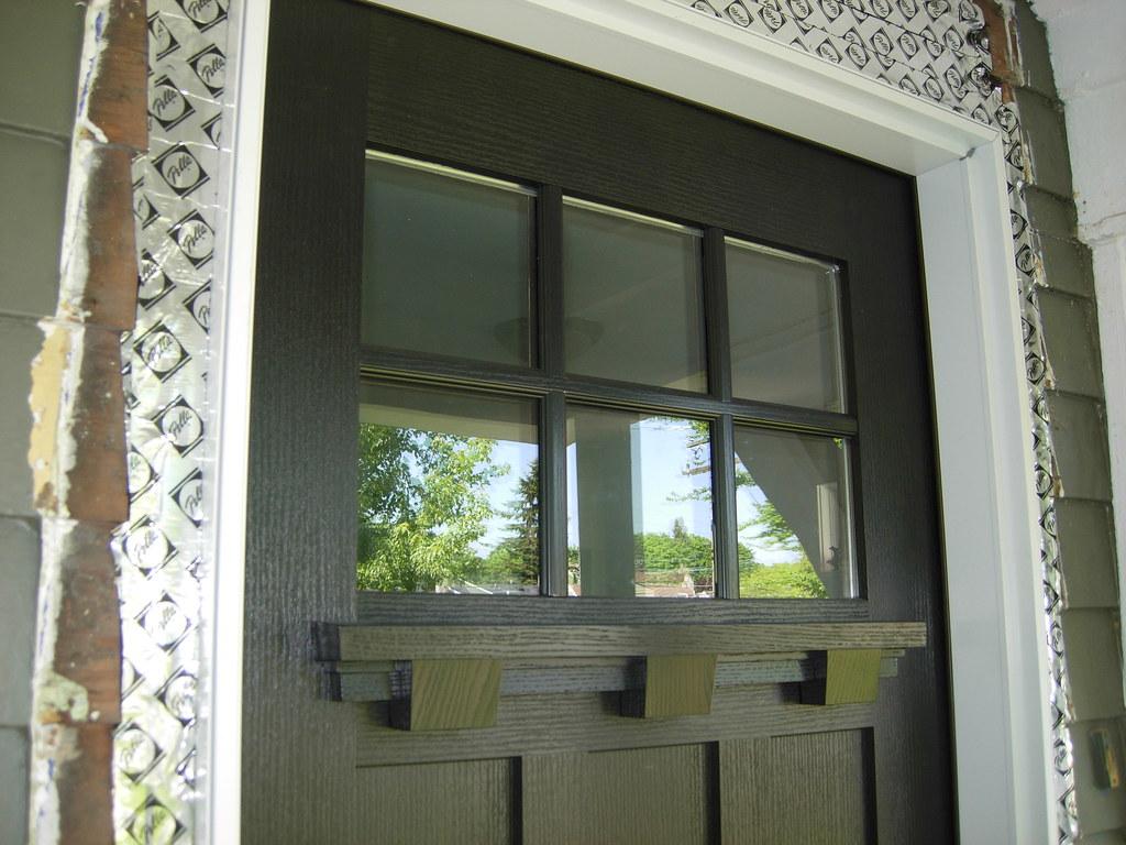 ... 6 Lite Craftsman Door Exterior Black With Dentil Shelf | By PellaWindows