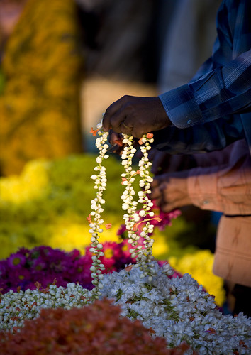 Flower necklaces at Mysore flower market, India | by Eric Lafforgue