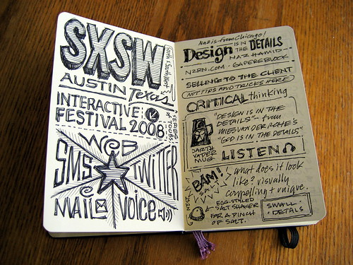 SXSWi 2008 Sketchnotes: First Spread | by Mike Rohde