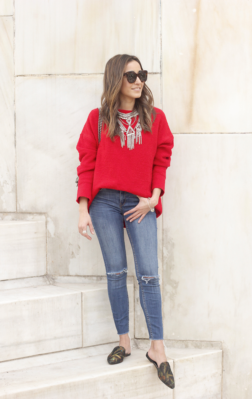 Mules Red sweater Ripped Jeans gucci bag céline sunnies fashion outfit style trend12