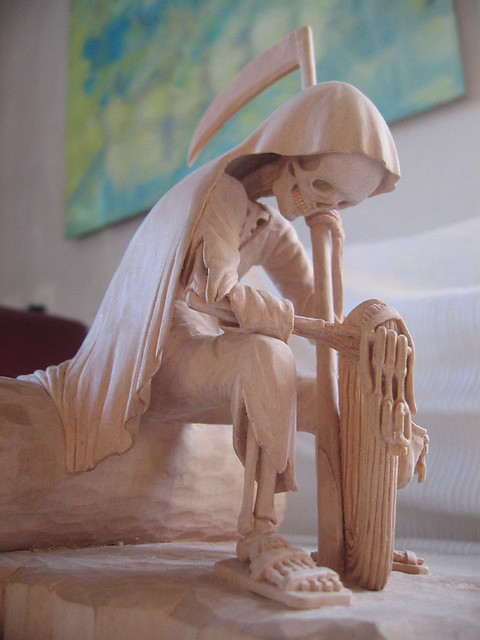 Death of a friend hancarved wooden sculpture created as