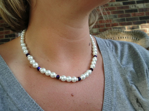 WHITE PEARL & PURPLE CRYSTAL BRIDAL NECKLACE | by DesignsByShauna