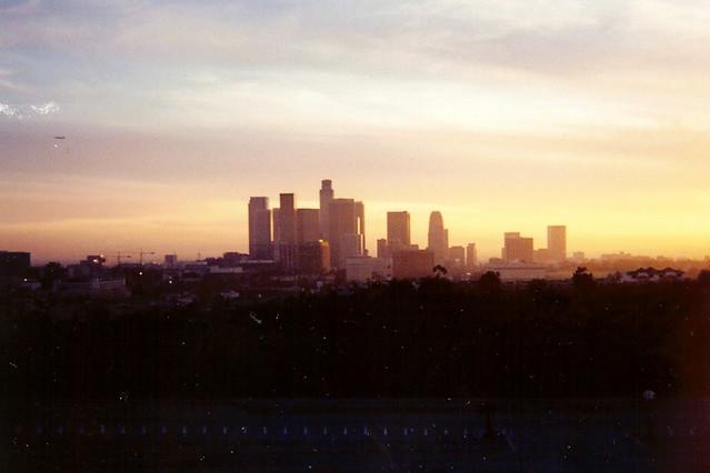 Los Angeles, California Skyline as seen from Dodger Stadiu ...