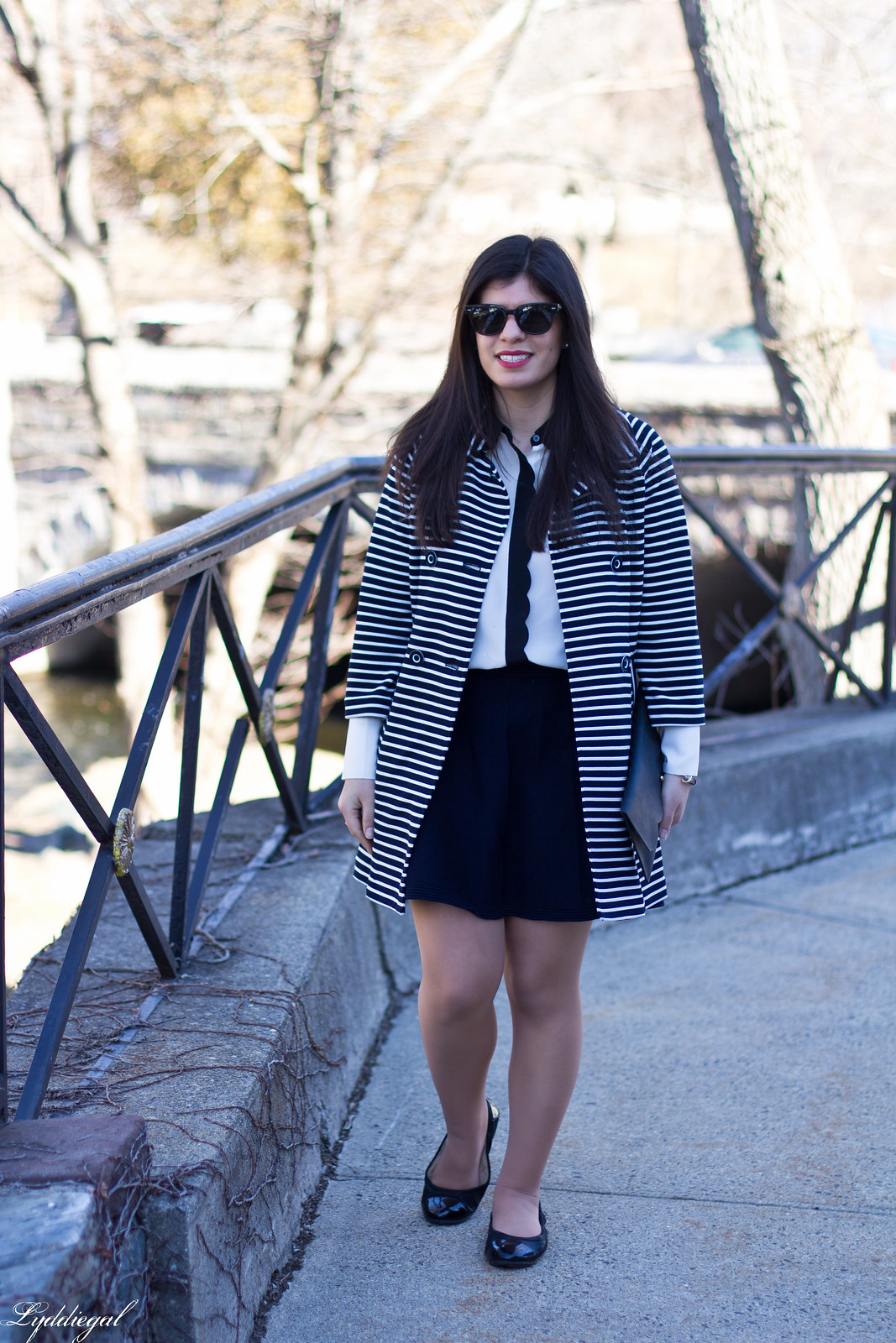 striped coat, scalloped blouse, navy skirt, anchor bracelet.jpg