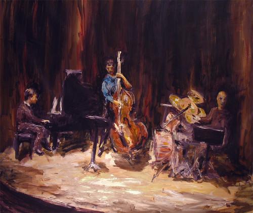 Jazz ensemble 50X44 Inches (127X112 cm) Acrylic on Canvas