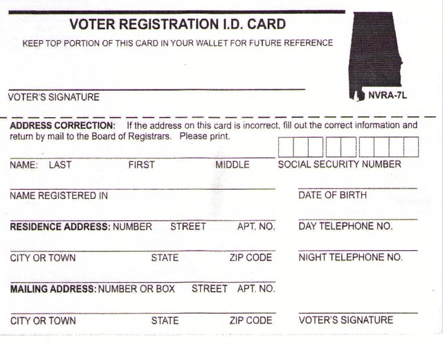 Alabama Voter Registration Id Card   A Voter Registrati  Flickr