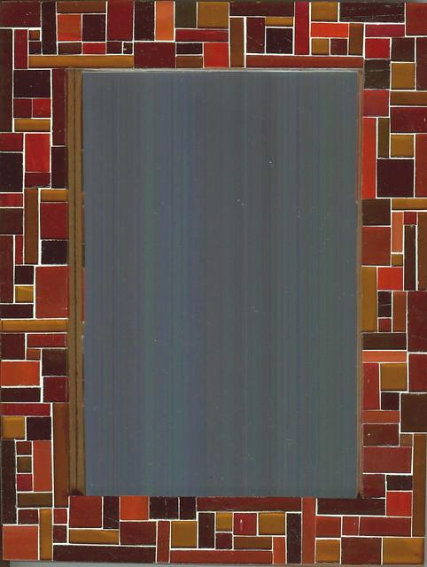 Cadre miroir ou photo asym trique tons ambre rouge verre for Cadre miroir