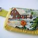 yellow farm barkcloth wristlet
