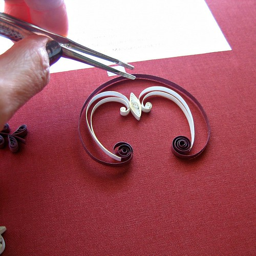 Wedding Invitation Quilling in Progress