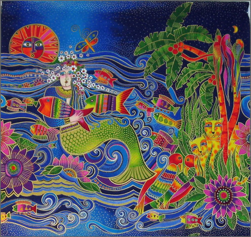 Laurel Burch Mermaid panel | This will become a wall ...