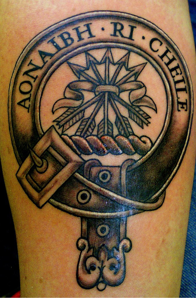 Clan crest clan crest done in black grey done by john at for Family motto tattoos