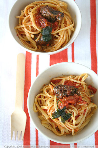 Sausage and Capsicum Linguine | by Acqua Bullicante