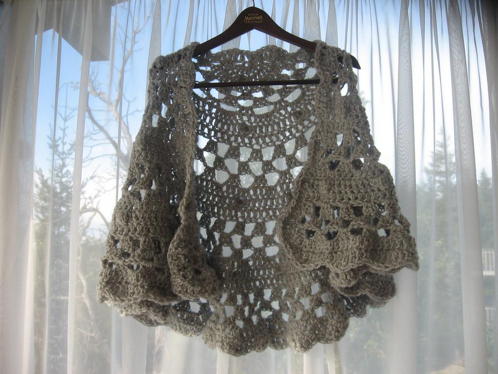 Crochet Half Moon Shawl front Laura Hanks Flickr