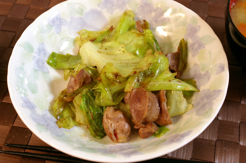 Stir-fried cabbage and chicken gizzard | Ingredients (for tw ...