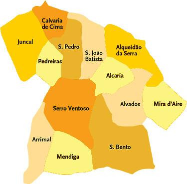 mapa freguesias concelho porto Concelho de Porto de Mós   Portugal | Mapa das freguesias | Jorge  mapa freguesias concelho porto