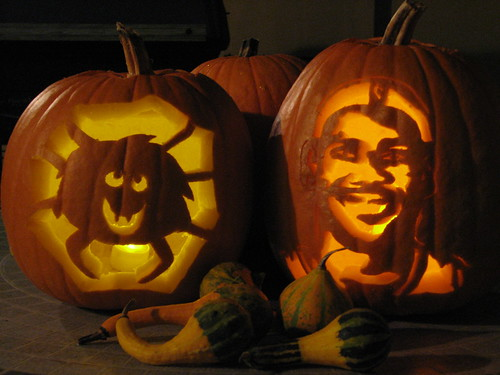Spider and Lebron James pumpkin carving | by The Foo Fighter
