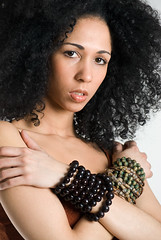 *Beautiful woman with afro and fishnet top | by jackie weisberg