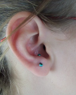 fresh 16g anti tragus piercing with 16g 3 8 titanium thre flickr. Black Bedroom Furniture Sets. Home Design Ideas
