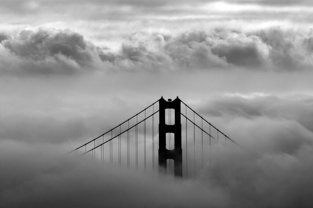 Golden Gate Bridge In The Clouds B Amp W A Black And White
