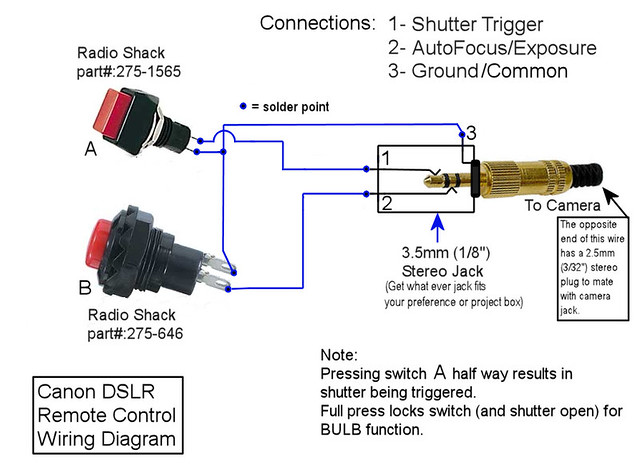 Canon    XT   XTi Remote Control    Wiring       Diagram      Link to