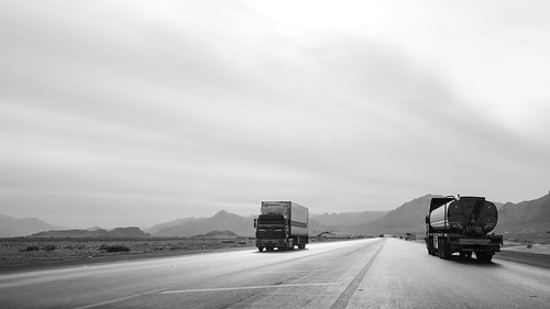 Desert Hwy - Trucks on airstrip | by Magh