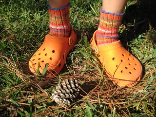 Orange Crocs + Orange Socks | by Twisted Knitter