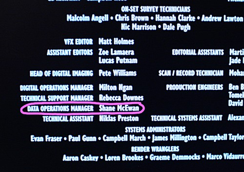 lord of the rings credits shane mcewans name at the end