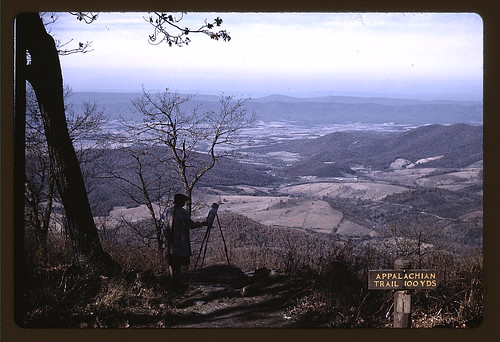 A woman painting a view of the Shenandoah Valley from the Skyline Drive, near an entrance to the Appalachian Trail, Virginia  (LOC) | by The Library of Congress
