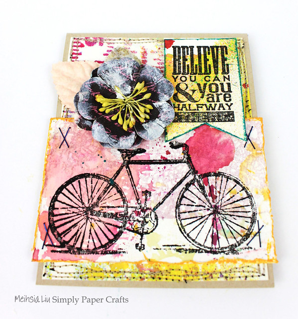 Meihsia Liu Simply Paper Crafts Mixed Media Card Simon Says Stamp Monday Challenge Bicycle Believe 2