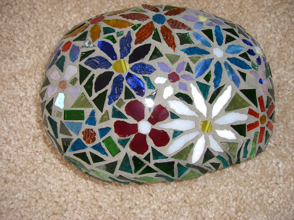 Flowers rock after grout crystal andrews flickr - Painting rocks for garden what kind of paint ...