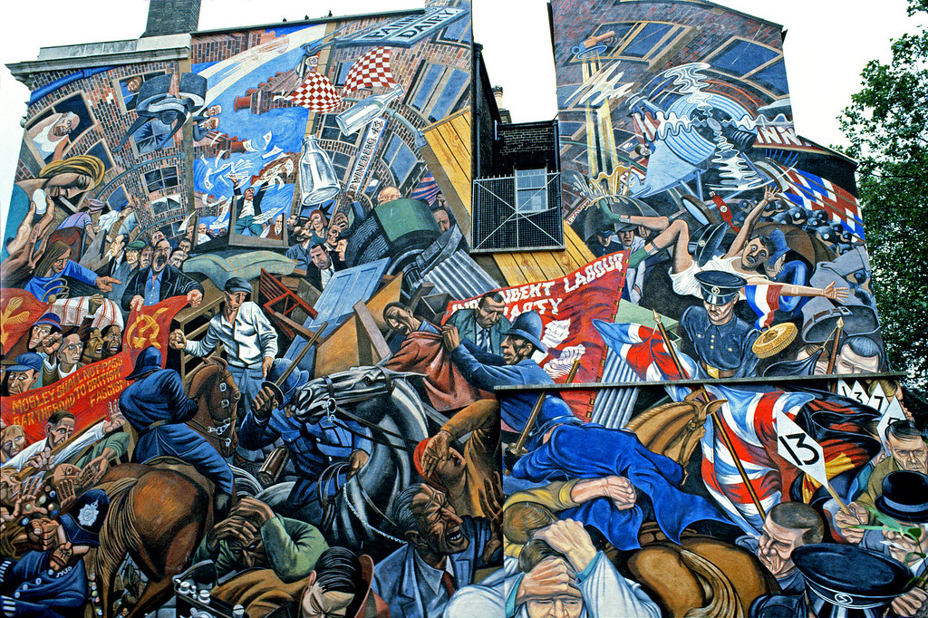 cable street mural 1983 1936 fascists beaten and chased