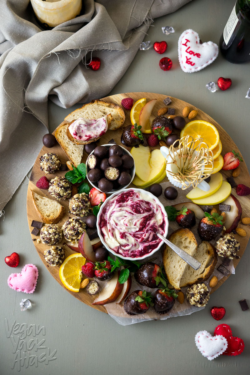 Stun a loved one with this Deluxe Valentine's Sweet Treat Platter - Raspberry Merlot Creme Fraiche, Maple Cashew Truffles and chocolate-covered strawberries. Mmm.. #Vegan #Soyfree #VeganYackAttack #EasierThanItLooks