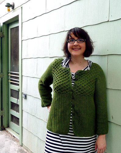my crochet green bean cardigan | by lindamade