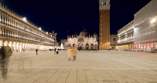 Night shot of Venice and it's visitors
