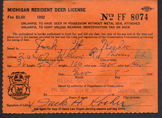 1952 michigan resident deer hunting license ff8074 flickr for Louisiana lifetime fishing license