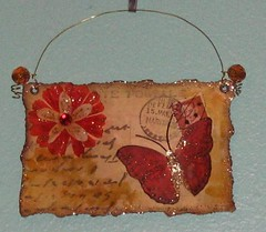 Carte Postale Red Butterfly altered art mixed media collage | by chaoticartworks