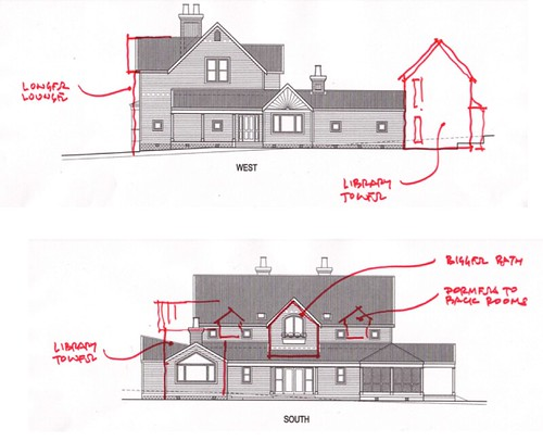 House plan alterations side view top shows the main for Side view house plans