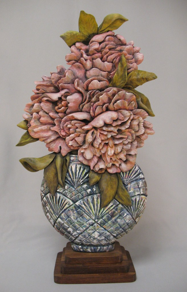 Relief wood carving peonies in vase deb bergum flickr