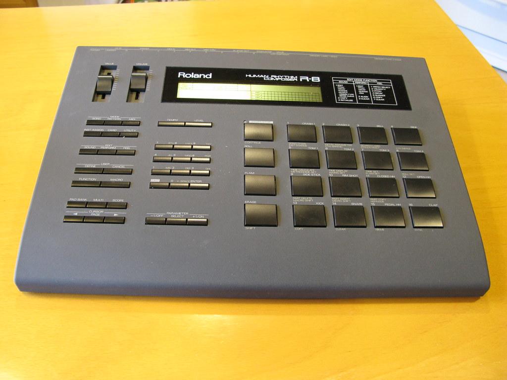 drum machine roland r 8 drum machine from 80 39 s leo set flickr. Black Bedroom Furniture Sets. Home Design Ideas