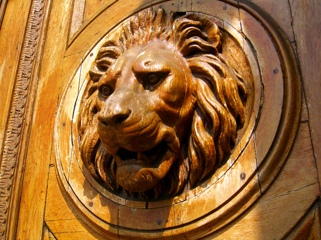 Lion S Head Wooden Door Detail On A Building In The Pest