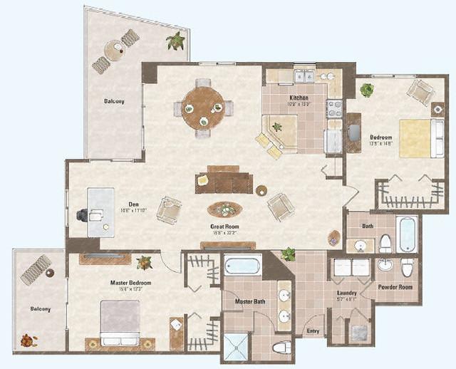 Two bed room condo floor plan 3 one las vegas condo for Condo plans free