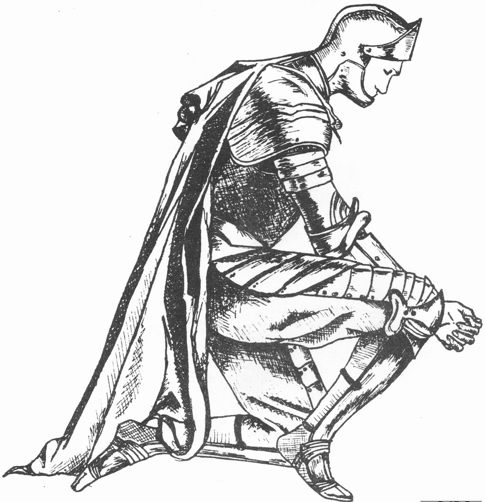 Kneeling Knight Drawing The White Knight Kneel...