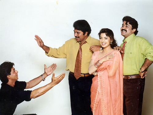 Mammootty With Srk Juhi And Lal Mammootty With