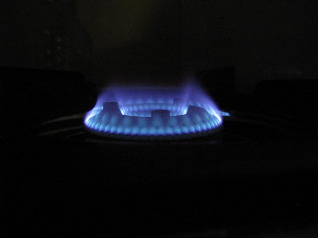 White Blue Gas Burner Living Room Curved Corners