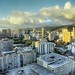 Fluffy Yellow Clouds over Honolulu