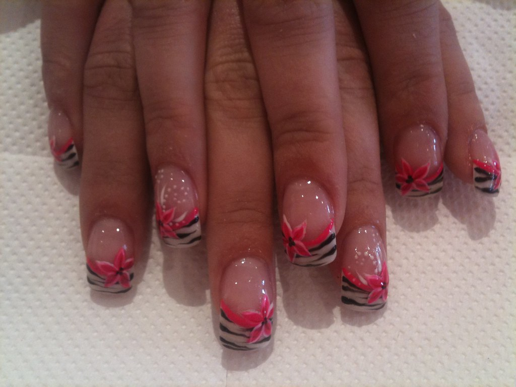 White French With Zebra Stripes And Pink Flower Nail Art Flickr