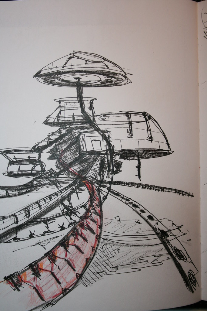 Futuristic architecture freehand sketch minusplusminus