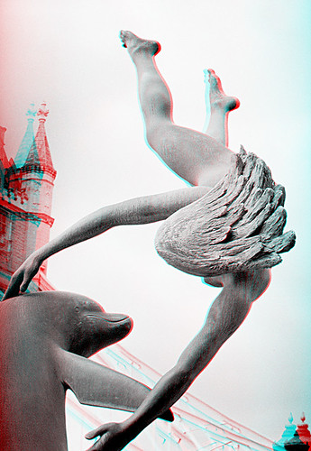 Naked Lady Wrestling A Dolphin 1 3D Anaglyph  I Wonder -2384